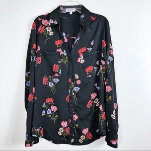 Express The Portofino Floral Button Down Blouse